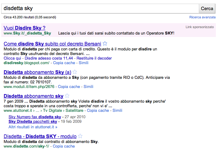 ricerca disdetta Sky
