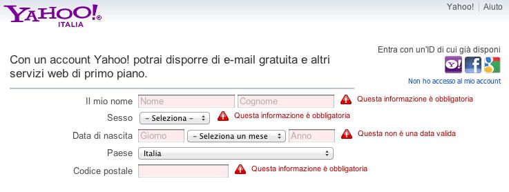 Errore form di Yahoo
