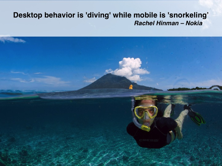 Desktop behavior is diving while mobile is snorkeling